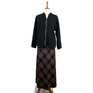 PENDLETON Vintage Red Plaid Wool Long Maxi Skirt